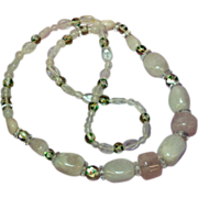 Gemstones Pink Quartz Silver Foil Rock Crystal Beads Necklace