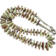 Native American Indian Spiny Oyster, Lavender Hand Rolled Beads Sterling Silver Necklace  Earr