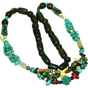 """Mix Beads Chunky Turquoise Coral Agate Bead Incredible Multi Color Carved Fetish  26"""" Nec"""