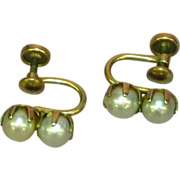 Marked Gold Filled Double Cultured Pearl Screw Back Earrings