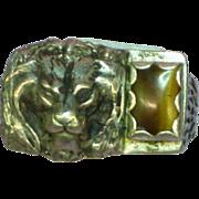 Huge  Vintage Heavy Unisex Mens Unique  Size 11-1/2  Cast Sterling Silver Lion Tiger Eye Stone