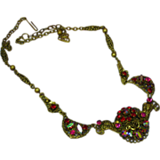 Czech Western Germany Rhinestones In Shades of Red and Red A/B  Brass Necklace