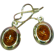 Amber Baltic Cabochon and  Sterling Silver Pierced Dangle Earrings