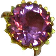 SALE Color Change Vintage Unequivocal Synthetic Alexandrite Gold Filled Cocktail Ring