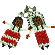 SALE 50% OFF SALE Native American Indian Early  Hand Made Seed Bead Dolls Sterling Silver Scre