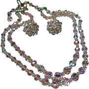 Laguna Pink Crystal Double Strand Necklace Clip Earrings Demi Parure