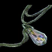 Faceted Lead Crystal Rainbow Prism Briolette Drop Dangle Négligée Necklace