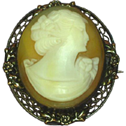 Cameo Art Nouveau Gold Filled Museum Quality Shell Hand Carved Brooch,Pendant