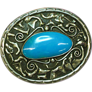 Native American Indian Signed Huge Sterling Silver & Chrysacola Southwestern USA Magnificent M