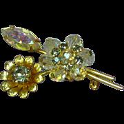 Rhinestones Fabulous Vintage Aurora Borealis  Crystal Brooch Pin