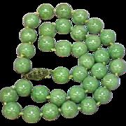 "SALE Jade Green Vintage Estate Chinese Jadeite Jade 16"" Necklace"