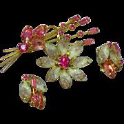 SALE Juliana D&E Molded Lavender & White Givre Rhinestone Flower Brooch Pin Earrings Demi Paru