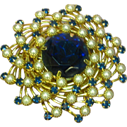 Judy Lee Domed Spiral Blue Rhinestone & Faux Pearl Brooch Pin