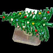 Enamel & Rhinestones Green Christmas Tree Pin Brooch