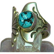 Native American Indian Turquoise Ring with a Whale Tail and Eagle Tail