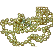 Vendôme Signed Vendome Vintage Double Strand Glass Hand Knotted Pearl Necklace Rhinestone Pea