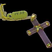 14K  Yellow Gold Lavender Jade Cross Pendant Necklace