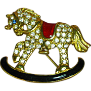 Monet Signed Rhinestones & Enamel Rocking Horse Pin Brooch