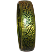 SALE 50% OFF Brass Embossed Engraved Floral Bangle Bracelet