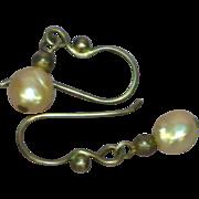 Akoya Baroque Creamy White Cultured Pearls Sterling Silver Pierced Earrings