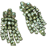 Weiss Signed Elegant Rhinestone Clip Dangle Earrings