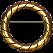 Copper Wreath Circle Pin Brooch