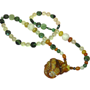 "Jade Carved Faceted Agate Carnelian Rock Crystal Chinese Carved 24"" Necklace"