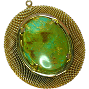 Oval Gold Mesh Gemstone Genuine Green Turquoise Pendant for Necklace