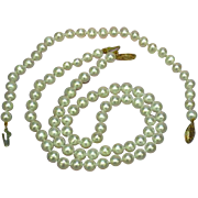 SALE 14K Marked Clasp Stunning White ,Hand Knotted Cultured Pearls Necklace and Bracelet Set