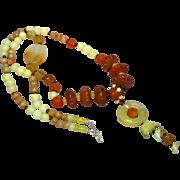 Jade Hand Carved Carnelian Sunstone and Garnet Sterling Silver Necklace
