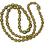 """Stunning 24"""" Matinee Length Genuine Cultured Golden Pearl and Gold Filled Findings Vintag"""