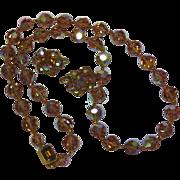 SALE Rare Golden Topaz A/B Mink Swarovski Crystal Necklace Earrings Set Demi-Parure