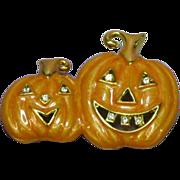 Rhinestones Enamel Fall Halloween Pumpkin Pin Brooch
