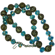"Swarovski Crystal Blue/ Teal Faceted Filigree Large Bead 22"" Necklace"