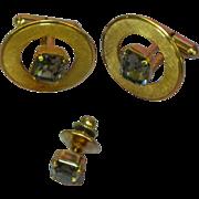 Destino Gold Filled Emerald Cut Smoke Gray Glass Rhinestone Cufflinks and Tie Clasp Set