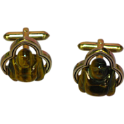 Swank Gold Tone Carved Tiger Eye Budda Cufflinks Cuff Links