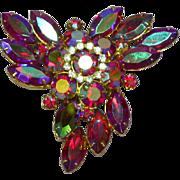 SALE Juliana D&E DeLizza & Elster Red Aurora Borealis Rhinestones Pin Brooch