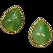 Vintage Unsigned Beauties Gold Tone Faux Jade Pierced Earrings