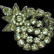 Rhinestones Bright Clear Heavy Rhodium Plate Leaf Pin Brooch.