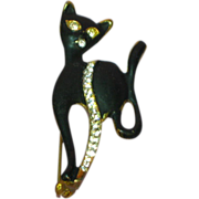 SALE Rhinestones Sophisticated Black Cat Kitty Animal Figural Pin Brooch