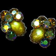 Regency Style Gold Art Glass and Golden A/B Rhinestone Clip Earrings