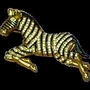 Rhinestones Gold Tone Figural Zebra Pin Brooch