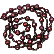 "Faceted Pearls! Deep Red Faceted Garnets Beaded 26"" Necklace"