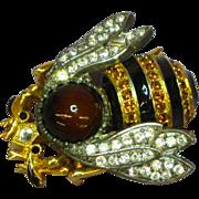 Berebi Limited Edition Enamel Art Glass Rhinestones Queen Bee Insect Pin Brooch