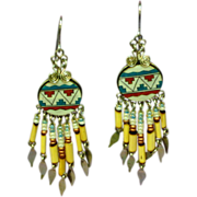 Native American Hand Made Tiny Glass Beads Porcupine Quill Dangle Earrings