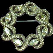Sarah Coventry Beautiful Shiny Silver Rhinestones Pin Brooch