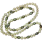 "SALE Deep Luster South Sea Baroque Cultured Pearl and Faceted Black Potato Pearls 24"" Nec"