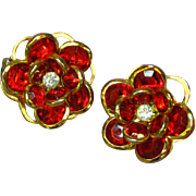 Crystal Christmas Red Bezel Set Clip Earrings
