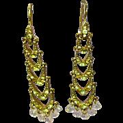 SALE Rhinestones Long Dangle Yellow Drop Chandelier Earrings Brilliant!