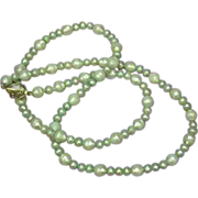 "Deep Light Green Luster South Sea Faceted Cultured Pearls 25"" Necklace"
